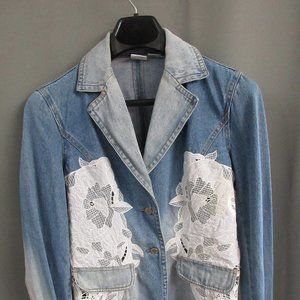 Jean jacket with white lace overlay